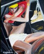 tableau scene de genre femme manequin voiture vintage : Gold Streap