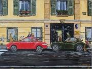 tableau scene de genre voiture vintage paris animaux : Porte Cochère encombrée