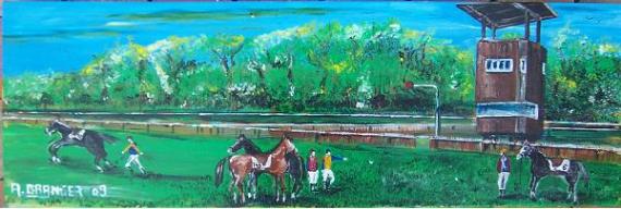 TABLEAU PEINTURE Chevaux jockeys pétanque Hippique Scène de genre Acrylique  - Détente au Jockey Club