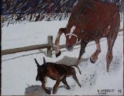 tableau scene de genre poursuite cheval chien neige : Starting-gate