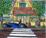 tableau scene de genre voiture personnage maison arbre : Escale à la ferme de Condé
