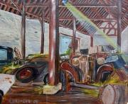 tableau scene de genre voiture poule ferme vintage : Bric à Brac