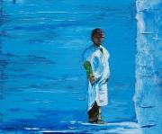 tableau personnages maroc enfant chef chaouen bleu : Le Kid de Chef CHAOUEN