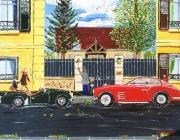 tableau scene de genre paris voiture vintage amoureux : rendez vous galant