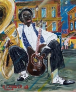 tableau scene de genre jazz guitare nouvelle orleans musicien : Cool man now i can