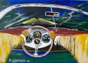 tableau scene de genre voiture route vitesse vintage : Virée nocturne sur la Route Bleue