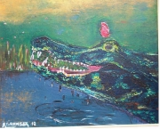 tableau scene de genre crocodile papillon marais alligatore : Crocolight