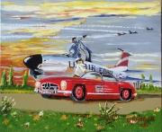 tableau scene de genre avion voiture mercedes fleurs : rencontre sur le tarmac