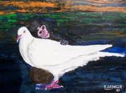 tableau animaux colombe paix singe tendresse : Enfin la Paix !