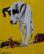 tableau animaux chien illustration vintage niche : FEBOLAO ?