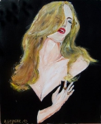 tableau personnages femme levres lips robe noire : Red lips