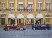 tableau scene de genre palace voiture paris vintage : Les mariés de la place Vendôme