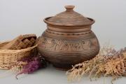 ceramique verre pot en terre cuite pot ,a epices vaisselle ceramique decoration cuisine : Pot en terre cuite artisanal à farine fait main