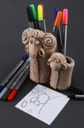 ceramique verre animaux pot aux stylos pot de burreau pot aux crayons papeterie : Pot aux stylos en argile et plâtre