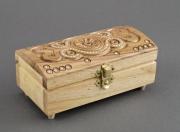 bois marqueterie coffret sculpte ,a la main ,a accessoires rectangulaire : Coffret sculpté en bois