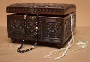 bois marqueterie coffret ,a couture decoration domestiqu art artisanat : Coffret en bois sculpté à couture