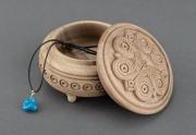 bois marqueterie boite sculptee coffret pour bijoux boite faite ,a main : Boîte sculptée en bois