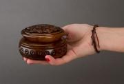deco design boite artisanale coffret ,a bijoux fait main originale : Boîte en bois ronde ciselée