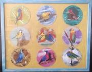 tableau animaux oiseaux nature arbre bleu : le chant des oiseaux