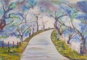 tableau paysages fleur chemin bois clairiere : printemps en fete