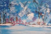 tableau paysages hiver paysage bleu neige : douceur hivernale