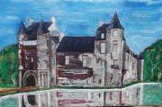tableau architecture chateau lac pierre paysage : TRECESSON