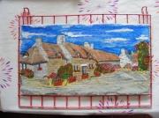 tableau architecture chaumieres fleurs cour village : Kerscoet
