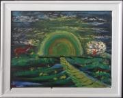 tableau paysages animaux arbre arc ciel : arc en ciel