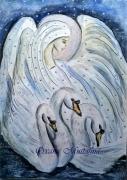 """tableau animaux cygne fille fantastique lac de cygnes aquarelle : Aquarelle """"Le lac e cygnes"""" sur papier aquarelle torch"""
