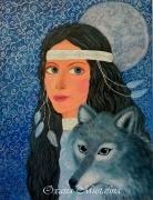 tableau animaux loup indienne fee animal : Peinture acrylique «Fée au loup»