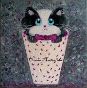 tableau animaux chat tableau chaton noir et blanc romantique : Peinture acrylique Chat romantique aux pétales de roses