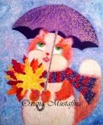 tableau animaux chat chat roux automne parapluie : Peinture acrylique «L'automne poilu»
