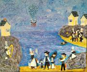 """tableau animaux bretagne chat breton coiffe bretonne : Peinture acrylique sur toile """"Bretagne, pays des minoudens"""""""