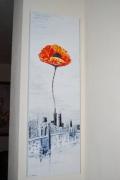 tableau fleurs new york usa huile couteau : New york une fleur en hommage aux disparus des 2 tours