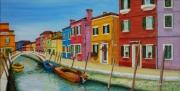 tableau architecture venise burano italie huile : Venise île de Burano