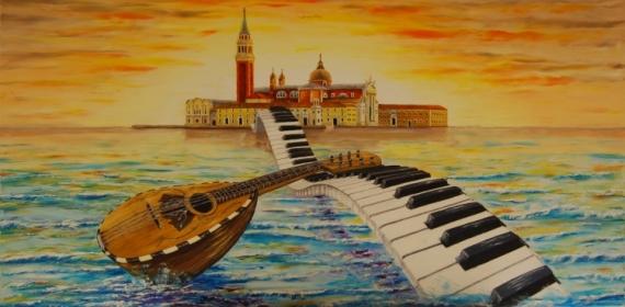 TABLEAU PEINTURE venise musique huile romantisme Marine Peinture a l'huile  - Venise sur un air de Mandoline