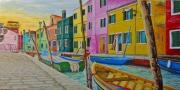 tableau marine venise burano marine huile : Venise Burano et ses façades multicolores