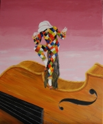 tableau personnages venise arlequin musique violon : Arlequin et Stradivarius en musique.