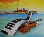tableau marine venise musique italie huile : Venise voyage musical