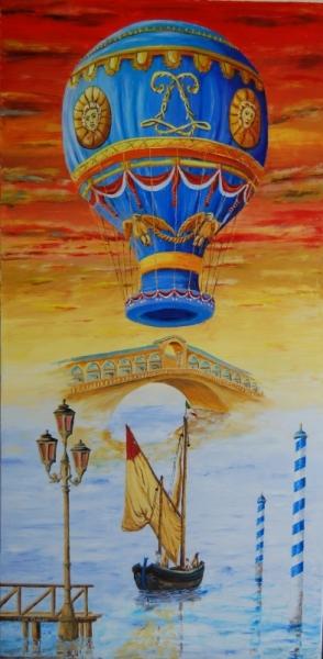 TABLEAU PEINTURE venise italie romantisme huile Peinture a l'huile  - Venise reve et altitude