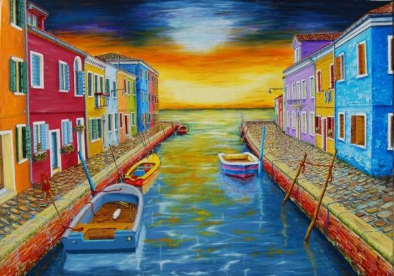 TABLEAU PEINTURE venise burano italie huile Architecture Peinture a l'huile  - Venise, soir d'orage à Burano.