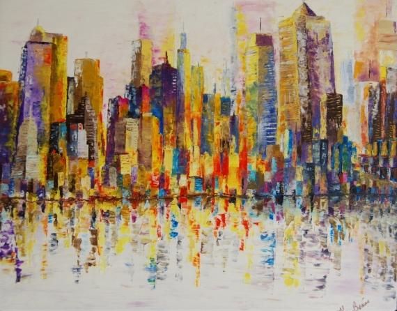 TABLEAU PEINTURE New York USA huile lumière Villes Peinture a l'huile  - New york aux mille feux