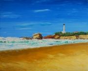 tableau marine biarritz marine plage huile : Biarritz la grande plage et son phare