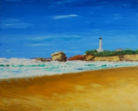 Biarritz la grande plage et son phare