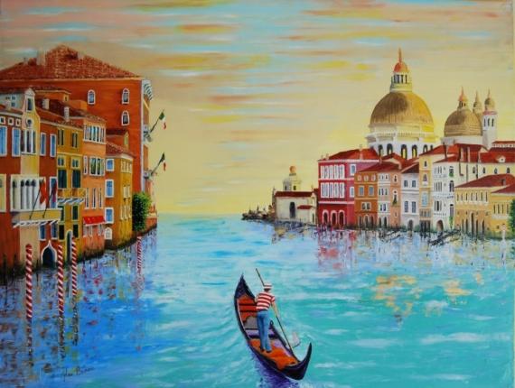 TABLEAU PEINTURE venise italie grand canal huile Peinture a l'huile  - Venise le grand canal