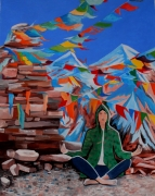 tableau scene de genre tibet prieres zen drapeaux : Les drapeaux de prières