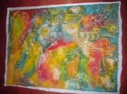 art textile mode abstrait soie multicolores magnifique elegant : Carré de soie