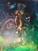 tableau abstrait mythe sublime magnifique superbe toile vert : Le Mythe de Prométhée