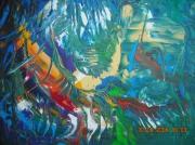 tableau abstrait forÊt amazonienne couleurs chaudes gaies decoratif et exotiqu : AMAZONIE