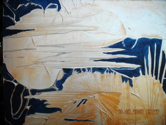TABLEAU PEINTURE GERS SOLEILS ARGENT ABSTRAIT Abstrait  - SOLEIL METALLIQUE